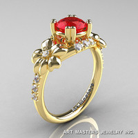 Nature Inspired 14K Yellow Gold 1.0 Ct Ruby Diamond Leaf and Vine Engagement Ring R245-14KYGDR