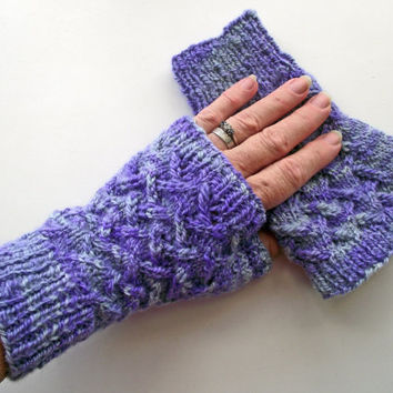 Purple Fingerless Gloves, Variegated Artisan Wristwarmers,  Hand Dyed Mitts, BFL Texting Gloves, Variegated Lilac Handspun Knitted Gloves