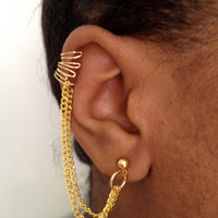 Gold Cuff Earring with Chain
