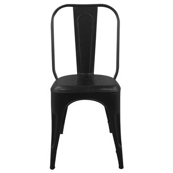 Reproduction of Xavier Pauchard Tolix® Cafe Industrial Dining Chair | Black Distressed