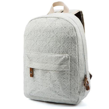 ♡ Beautiful Lace Backpack School Travel Bag Canvas Bag ♡