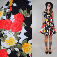 Cabbage ROSE print vtg 80's circle skirt BELTED party DRESS tulle mini