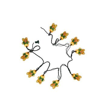 Set of 10 Gingerbread Kisses Cookie Man with Bow Tie Christmas Lights - Green Wire