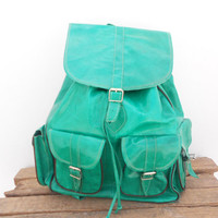 Light Green Leather Extra Large backpack satchel bag Handmade Soft Leather School College Travel Picnic Weekend bag