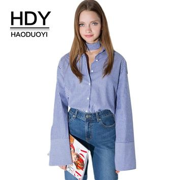 Blue-White Stripe Single-breasted Shirt Bow-knot Front Women Tops Long Sleeve Shirts Fashion Blouse Button Down
