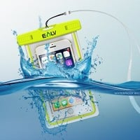 """Waterproof Case, E LV Universal Waterproof Case For Apple iPhone 6 5S, 5, 4S Galaxy S5, S4 S3, HTC One, Galaxy Note 3, iPod touch, MP3 Player and many more (Fits other Smartphones up to 6.0"""" diagonal) - IPX8 Certified to 100 Feet"""