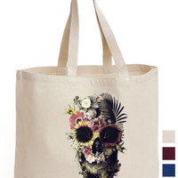 Tropical Floral Skull Cotton Tote ECO canvas gift Stag Leaf leaves hand Bag | eBay