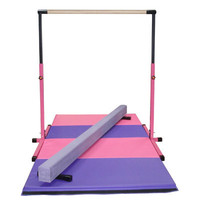 3-5 Pink Horizontal Bar - 8ft Purple Balance Beam - 8ft Gymnastics Folding Mat