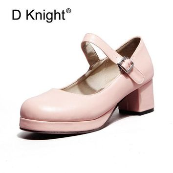 New 2018 Sweet Candy Color Women Mary Janes Pumps Bowknot Black Lady High Heels Lolita Shoes For Women Princess Shoes Plus 33~43