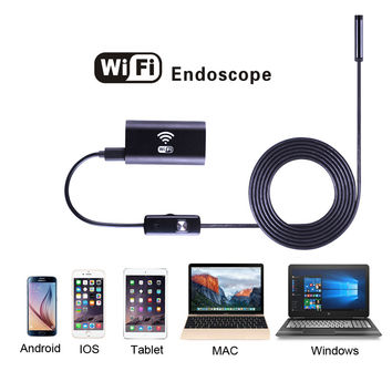 1m 1.5m 2m 3.5m 5m Cable IOS Android Wifi Endoscope with 8mm Lens 6 LED Waterproof Iphone Endoscope Inspection Borescope Camera