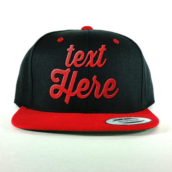 Black and Red Snapback Hat - Custom Text Embroidered - Personalized caps -  High quality embroidery 0f5d391cb59