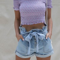 Looking In High Rise Denim Paperbag Shorts