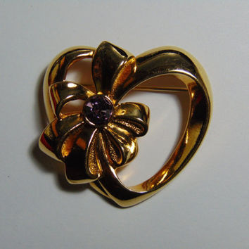 Gold tone Heart with Bow and June Birthstone Gem Rhinestone Brooch Pin