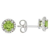 Sterling Silver Peridot and Diamond  Earrings
