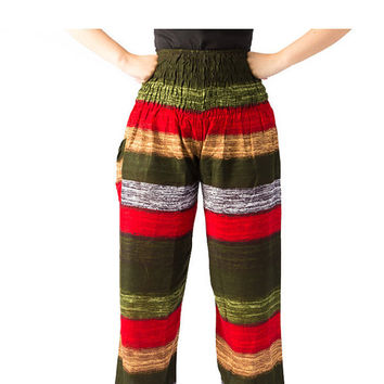 Stripe pants elephant thai pants/peacock design/bangkok pants/bohemian pants/hippie clothes/Harem pants/Aladdin Pants/Yoga pants/boho pants