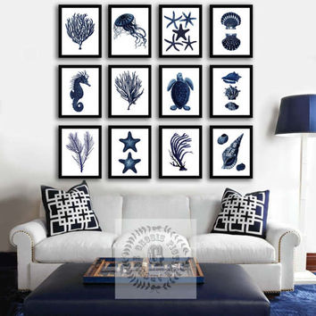 Navy Blue Wall Decor, Sealife Decor Set of 12 Prints, Summer Beach Home Decor, Coastal decor Beach living room decor, bedroom decor