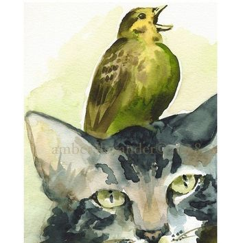 Tolerance Cat and Bird Art by amberalexander on Etsy