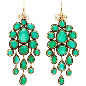 One-Of-A-Kind Huge Magnificent Emerald Cabachon Chandelier Earrings | Moda Operandi