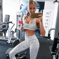 Hot Sale Summer Women's Fashion Geometric Stripes Vest Yoga Sports Sportswear Set [11735070671]