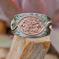 Bar V Ranch™ by Vogt® Silver with Copper Floral Center Cuff