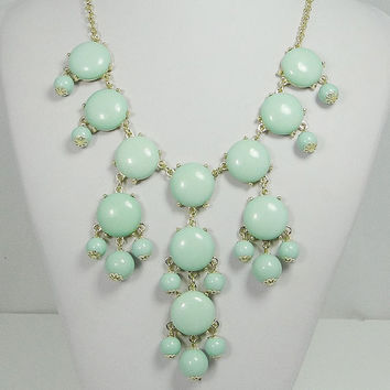 NEW Hot Mint Green 20mm Size Bubble Necklace, Handmade Bib Necklace, Bubble Statement Necklace Jewelry-117698345