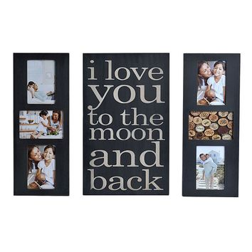 Melannco 3-piece ''I Love You to the Moon & Back'' Fashion Collage Frame & Wall Decor Set