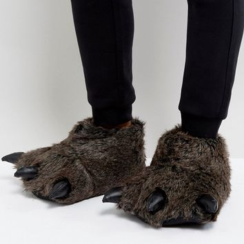 ASOS Halloween Claw Slippers In Charcoal at asos.com