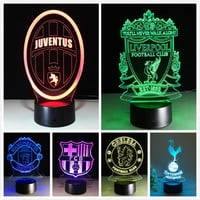 3D LED Lamp Football Sport 3D Night Light for Soccer Real Madrid Fans Gift LED Luminaria Bedroom Lighting Italy Juventus Club