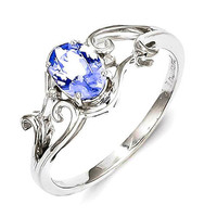 Sterling Silver Rhodium Plated Diamond And Tanzanite Oval Ring