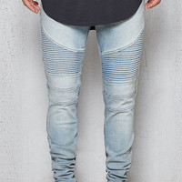 PacSun Stacked Skinny Moto Light Indigo Flex Stretch Jeans at PacSun.com