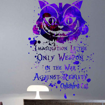 kcik1744 Full Color Wall decal poster space Watercolor paint splashes Alice in Wonderland Cheshire cat quote children's room