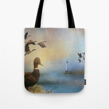 Lighthouse In Time Tote Bag by Theresa Campbell D'August Art