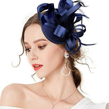 ZampX Fascinator Pillbox Hat Feather Satin Hair Clip for Cocktail Tea Party