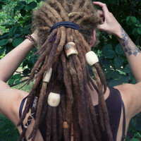 Extra large dread beads // 1 big bead for dreads // XXL beads with natural look, handmade wooden beads // hair, ponytail, dreadlock or braid