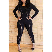 Sexy Scoop Lace-Up Criss-Cross Long Sleeves Jumpsuit For Women