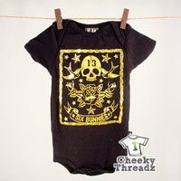 Baby Romper Birds n' Skull Gold Baby Onesuit Romper Cool punk rock baby clothes