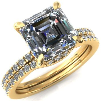Ezili Asscher Moissanite 4 Claw Prong Micro Pave Diamond Sides Engagement Ring