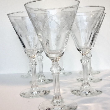 Libbey Crystal Champagne Glasses Set of 9, 1960s Libbey Rock Sharpe Crystal Stemware, Vintage Crystal Water Goblets, Etched Wine Glasses
