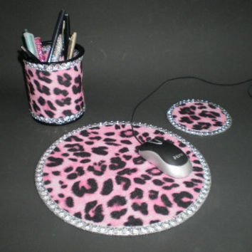 PINK CHEETAH & BLING Computer Desk Set - w/ clear rhinestones
