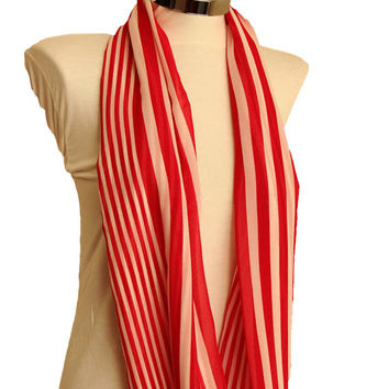 Red white striped infinity scarf,