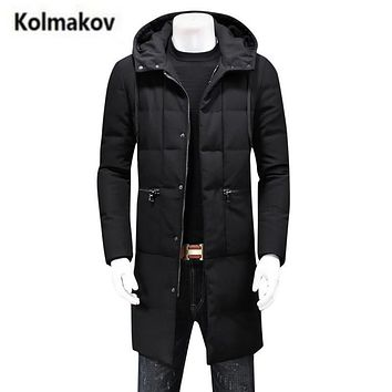 KOLMAKOV 2017 new winter high quality men's hooded down jacket parkas,zipper pocket 90% white duck down warm coat windbreaker.