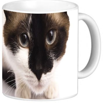 Rikki Knight Brown and White Furry Cat Face Close-Up Design Photo Quality Ceramic Coffee Mug Cup, 11 oz, White