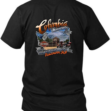 Welcome To Columbia Harley Davidson 2 Sided Black Mens T Shirt