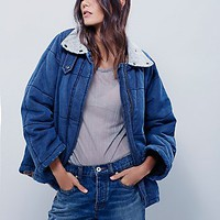 Free People Womens Quilted Denim Jacket