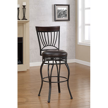 American Woodcrafters B1-104-26L Horizon Charcoal Counter Stool with French Roast Bonded Leather Seat