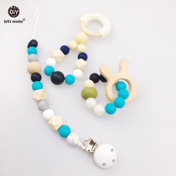 Let's make Teething 3pcs Round Pacifier Clip Silicone Beads Wooden Rabbit Food Grade Materials DIY Nursing Pendant Baby Teether