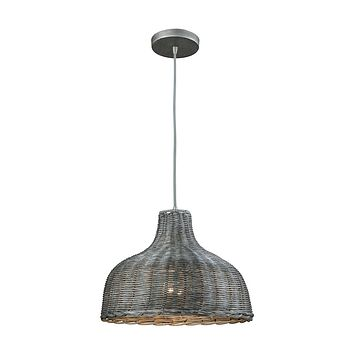 Pleasant Fields 1-Light Pendant in Weathered Grey with Gray Wicker Shade