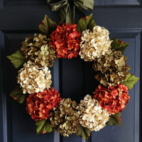 Autumn Hydrangea Wreath - Fall Wreaths - Wreaths for Door - Fall Porch Decor - Autumn Door Decor