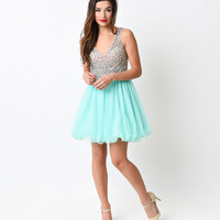 Mint Mesh Beaded Tulle Short Dress 2015 Homecoming Dresses