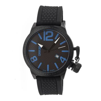 Breed Falcon Black and Blue Dial Black Silicone Strap Mens Watch 5706